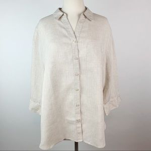 Chico's No Iron Linen Top Size 3